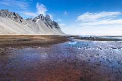 Vesturhorn mountain landscape in Southeast of Iceland. Vestrahorn Iceland is one of the most photographed mountains on the island. Located on the Stokksnes Royalty Free Stock Photos