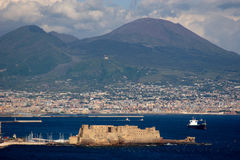 Vesuvio. Vesuvius, opposite view, view through a bay Stock Photos