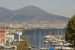 Vesuvio and Naples harbour Stock Photos
