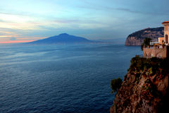 Vesuvius from Sorrentine peninsula Coast Italy. Vesuvius Volcano from Sorrentine Peninsula coast in Southern Italy in the Bay of Naples stock photography