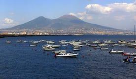 Vesuvius. Mount Vesuvius with boats, Naples, Italy stock photo