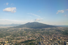 Vesuvius. Aerial view of the Vesuvius and Naples Royalty Free Stock Photos