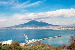 Vesuvius on the gulf of Naples with shipyard stock photos