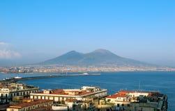 Vesuvius hugs Naples. Mount Vesuvius is dominating part of the Gulf of Naples royalty free stock photo
