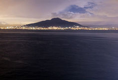 Vesuvius by night. A view of the vesuvius vulcano from sorrento in italy Stock Images