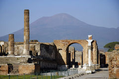 Vesuvius overlooking ruins Stock Photo