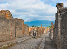 The vesuvius from the pompeii ruins Stock Image