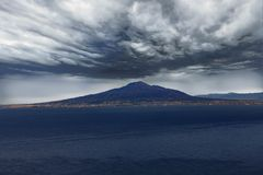 Vesuvius Under Ominous Clouds. Mount Vesuvius Under Ominous Clouds Stock Image