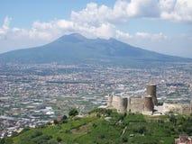 Vesuvius. Views of Vesuvius seen from the Lattari Mountains royalty free stock image