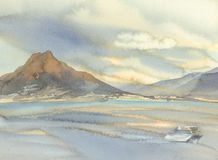 Vesuvius volcano landscape watercolor background. Vesuvius volcano landscape with clouds watercolor background Stock Photography