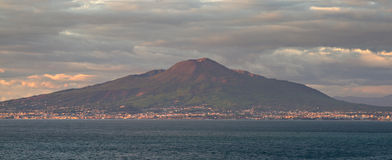 The Vesuvius Volcano in the late evening sun Stock Photos