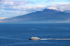 Vesuvius volcano and Mediterranean sea Stock Photography