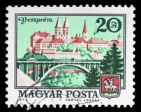 Veszprem, Cityscapes serie, circa 1973. MOSCOW, RUSSIA - FEBRUARY 10, 2019: A stamp printed in Hungary shows Veszprem, Cityscapes serie, circa 1973 stock photography