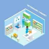 Vet cabinet cutaway interior vector flat isometric illustration. Veterinary cabinet cutaway interior, vector flat isometric illustration. Animal hospital Stock Image
