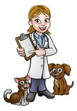Vet Cartoon Character Holding Clipboard Royalty Free Stock Image