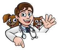 Vet Cartoon Character Pointing Sign. A cartoon vet character with pet cat and dog animals above sign pointing Stock Images
