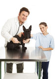 Vet and Child with Dog Stock Photo