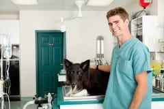 Vet Clinic. A small animal clinic with a dog on the surgery prep table Stock Photos