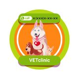 Vet Clinic Icon With Group Of Happy Dogs Isolated Veterinary Medicine Concept Stock Photos