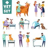 Vet Doctors And Animals Set vector illustration