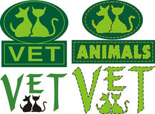 Vet emblem. Small animal practice - companion animals or household pets Royalty Free Stock Photo