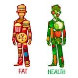 Vet en Gezondheid Menselijke voedingspictogrammen Royalty-vrije Stock Foto