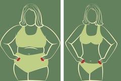 Vet en slank meisje stock illustratie