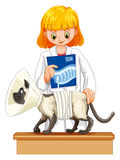 Vet holding x-ray film of cat. Illustration Royalty Free Stock Photography