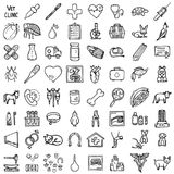 Vet icons set. Hand-made style, vector illustration Royalty Free Stock Image