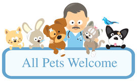 Vet and pets holding sign. Illustration of a vet and pets holding sign Royalty Free Stock Photos