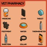 Vet pharmacy color outline isometric icons Royalty Free Stock Photos