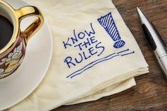 Vet reglerna arkivfoton