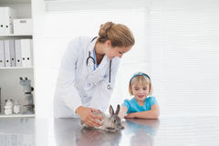Vet showing a young girl a bunny rabbit Royalty Free Stock Image