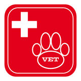 Vet symbol on red background Stock Photo