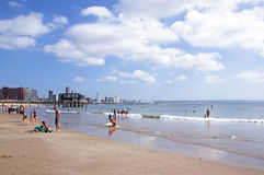 Vetch's pier and people on beach in Durban Stock Photo