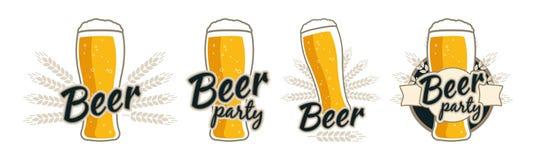 Veteöl Ölexponeringsglas med skum och öron av vete Kvalitets- logo, emblem, emblem, lappmaterielvektor arkivfoton