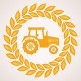 Vetegräns med symbol av traktoren royaltyfri illustrationer