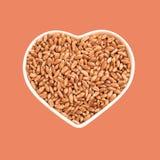 Vetekorn i en platta i formen av en hjärta Favorit- mat Jordbruk och förälskelse I isolering Beige och orange bakgrund royaltyfria foton