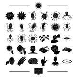 Vetenskap, medicin, hygien och annan rengöringsduksymbol i svart stil skärm TV, framsteg, symboler i uppsättningsamling royaltyfri illustrationer