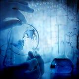Vetenskaps- och läkarundersökningbakgrund fotografering för bildbyråer