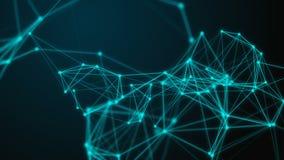 Vetenskaplig bakgrunds- och abstrakt begreppteknologi Digital dynamisk tapet för Plexus Begränsa linjer, trianglar och punkter ög stock video