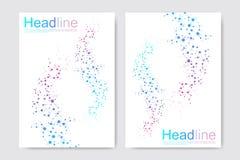 Vetenskaplig broschyrdesignmall Vektorreklambladorientering, molekylär struktur med förbindelselinjer och prickar vetenskapligt royaltyfri illustrationer