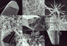 Vetenskaplig collage Kristall i elektronmikroskop Arkivbild