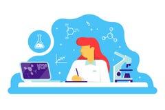 Vetenskaplig doktorskvinna som arbetar på vetenskapslabbet Laboratoriuminre, med mikroskopet och labbbärbara datorn vektor royaltyfri illustrationer