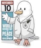 Vetenskaplig duva som firar världsvetenskapsdagen för fred och utveckling, vektorillustration royaltyfri illustrationer