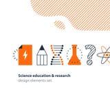 Vetenskaplig forskning, uppsättning för vetenskapsutbildningssymboler Arkivfoton