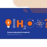 Vetenskaplig forskning, uppsättning för vetenskapsutbildningssymboler Royaltyfri Fotografi