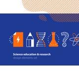 Vetenskaplig forskning, uppsättning för vetenskapsutbildningssymboler Arkivbilder