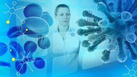 Vetenskaplig illustration med kvinna-forskaren, molekylar, blodceller och viruset Arkivfoton