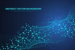 Vetenskaplig molekylbakgrund för medicin, vetenskap, teknologi, kemi Vågflöde Tapet eller baner med ett DNA stock illustrationer